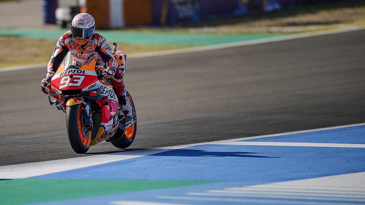 Marc Márquez en pista durante el GP de España 2020