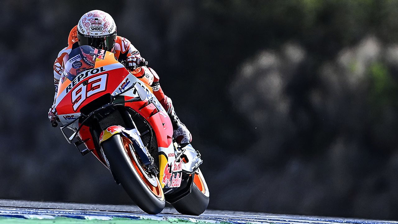 Marc Márquez rodando en el GP de España 2020