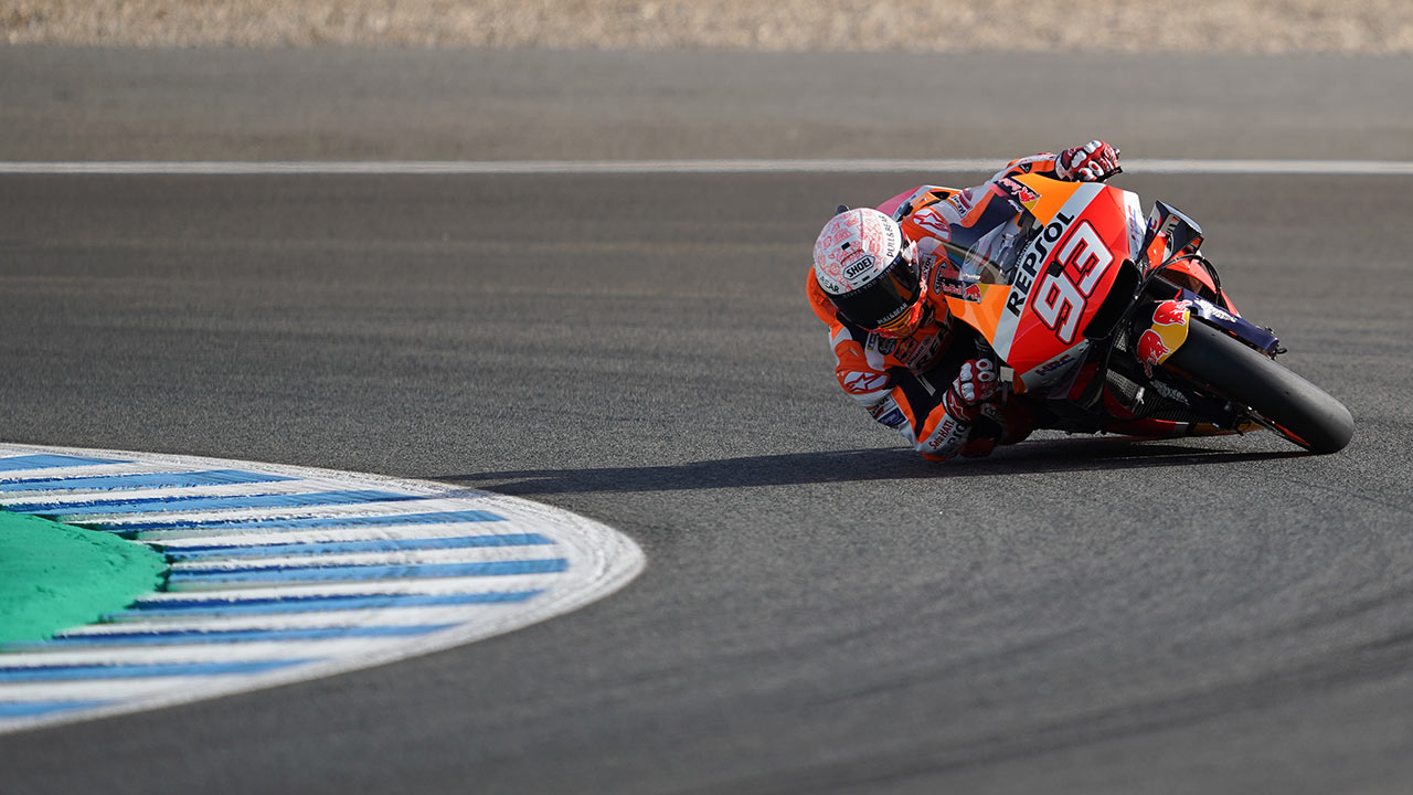Marc Márquez en pista durante el GP de España 2020