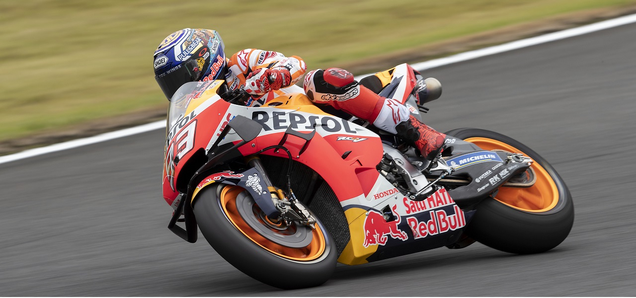 Márquez third on opening day at Motegi, with Lorenzo 17th
