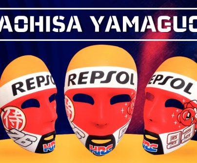 Máscaras Repsol de Naohisa Yamaguchi con los números de Márquez y Pedrosa