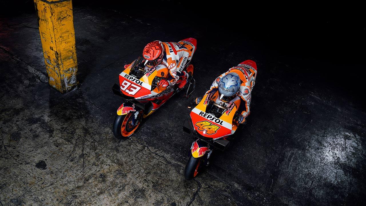 Marc Márquez y Pol Espargaró con sus Honda RC213V 2021
