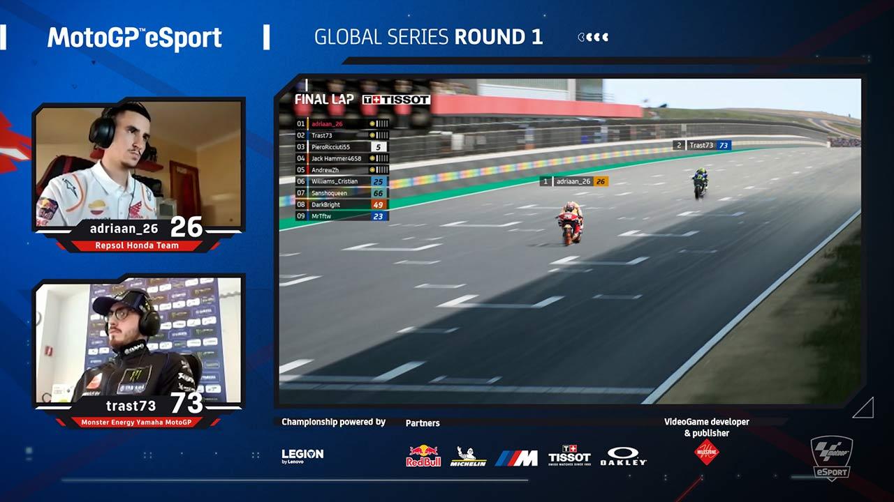 Adriaan_26 leads the MotoGP eSport Champion with the Repsol Honda Team
