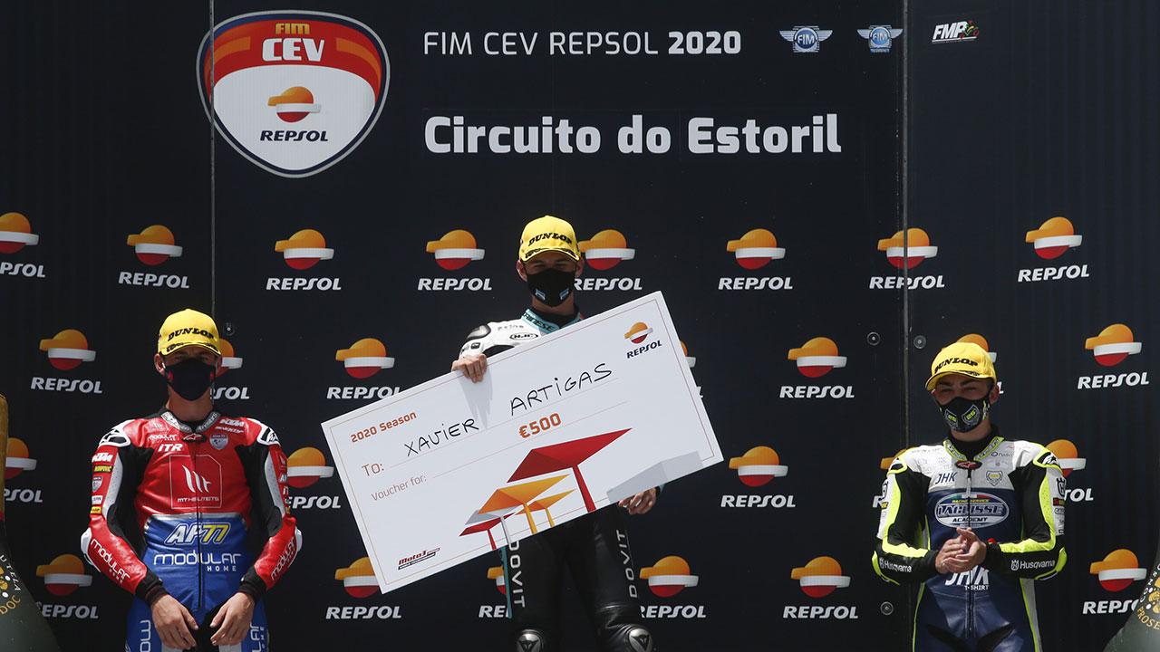 Xavier Artigas en el podio ganadores fim cev repsol 2020