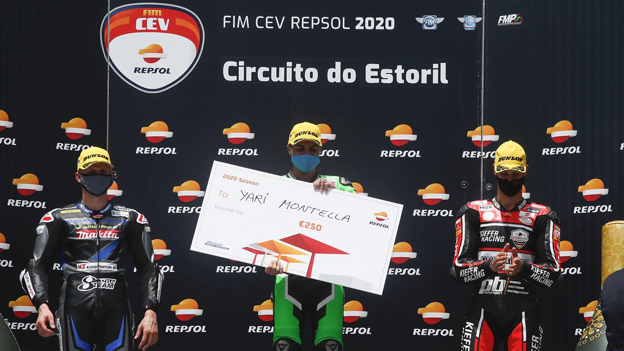 Yari Montella en el podio ganadores fim cev repsol 2020