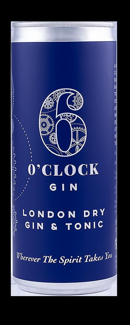 6 O'clock Gin London Dry Gin & Tonic Can