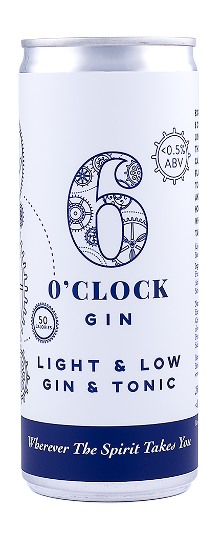 6 O'clock Gin Light and Low Gin & Tonic Can