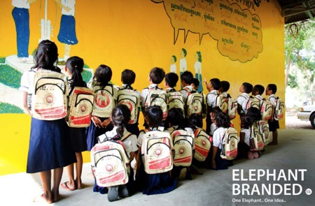 School children receive bags