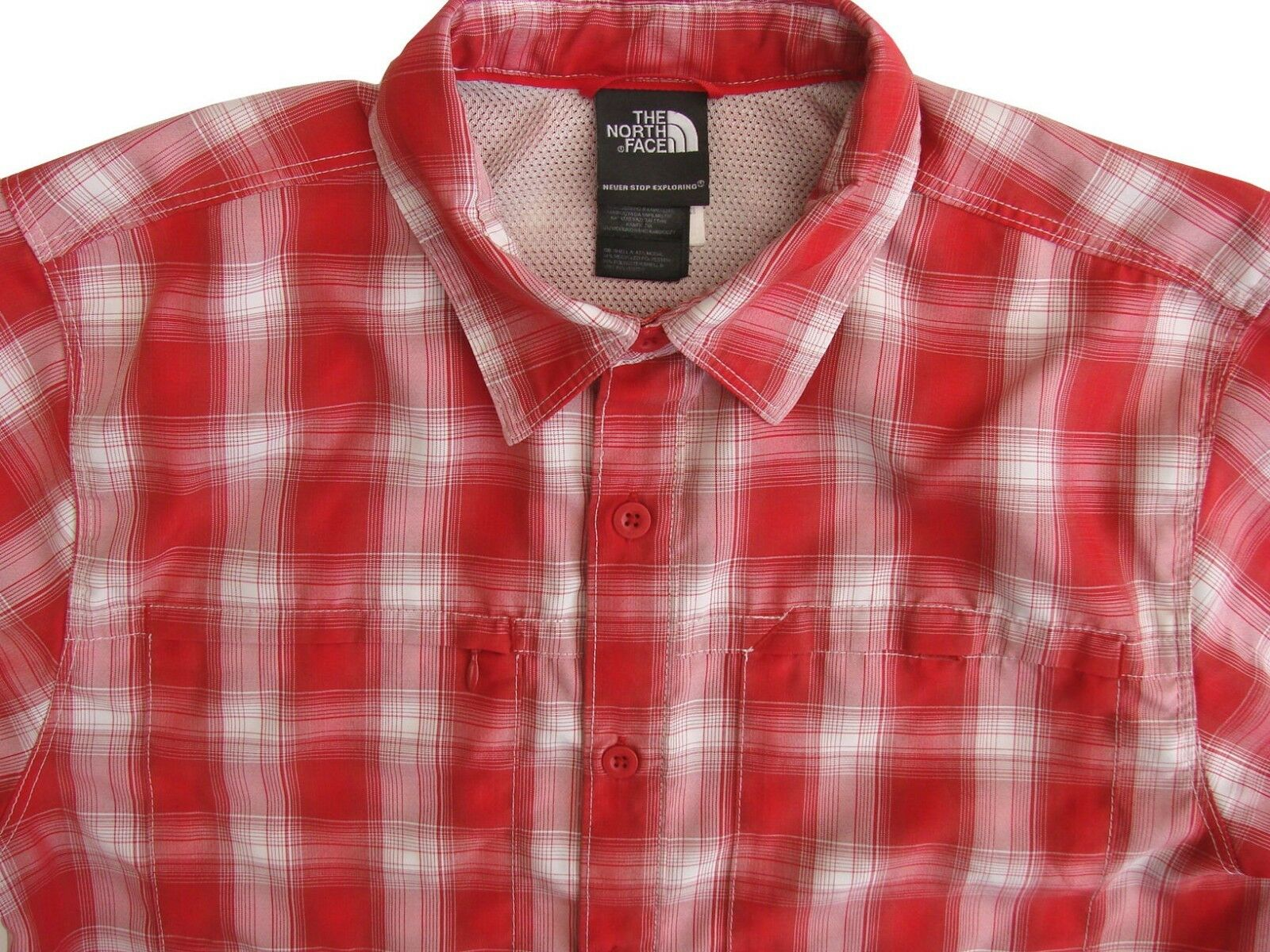 41172a592 THE NORTH FACE Shirt Mens 16 S Red & White Check SHORT SLEEVE