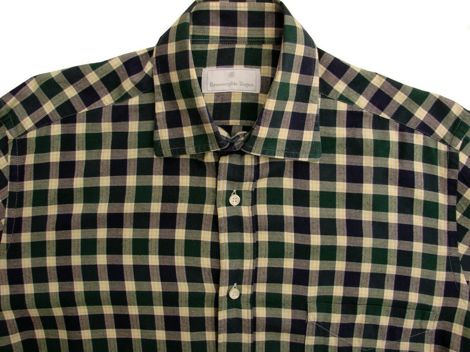 aadc51f7 ERMENEGILDO ZEGNA Shirt Mens 14.5 S Green Blue & Yellow Check FLANNEL