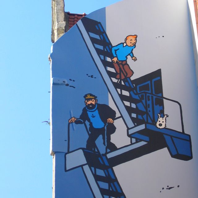 Tintin Comic strip wall (Rue de l'Etuve)