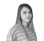 A black and white photograph of Brooke, Junior Web Developer at Rapid Formations.