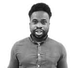 A black and white photograph of Emmanuel, Trainee Company Formation Executive at Rapid Formations.