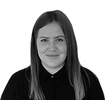 A black and white photograph of Gemma Nimmo, a Rapid Formations receptionist.