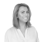 A black and white photograph of Jessica Maynard, reception manager at Rapid Formations.