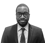 A black and white photo of Mikael Ndombasi, Operations Director of Rapid Formations.