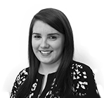 A black and white photo of Rebecca Honnan, an Office Manager at Rapid Formations.