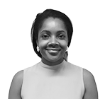 A black and white photograph of Sekada Yarde, a company formation executive at Rapid Formations.