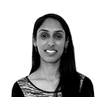 A black and white photo of Shabana Khan, Compliance Executive of Rapid Formations.