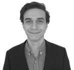 A black and white photo of Tommaso, Business Development Manager at Rapid Formations.