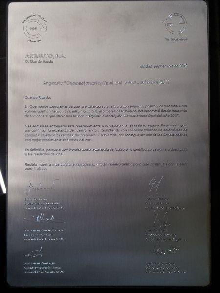"""Argauto, galardonado de nuevo con el más prestigioso galardón que aporta la marca Opel a un concesionario en España, """"Concesionario Opel del Año"""""""