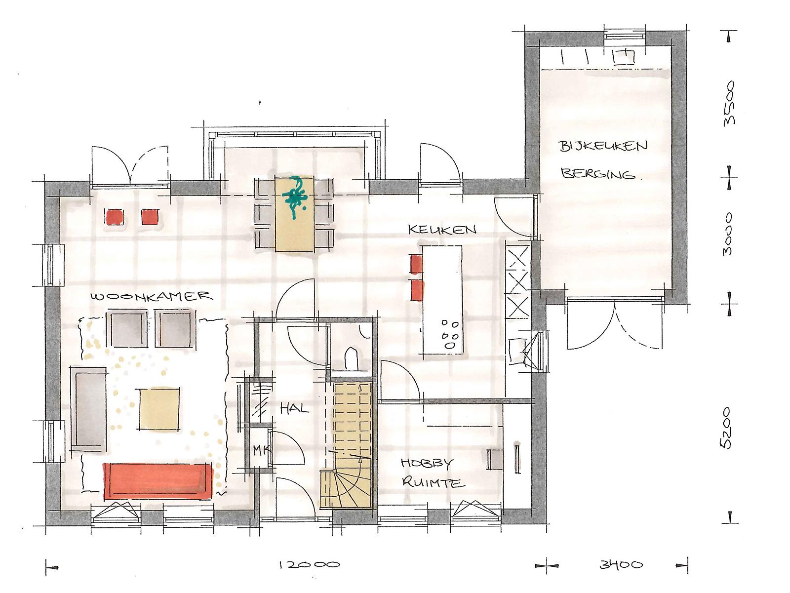 Interieur building design architectuur for Trap tekenen plattegrond