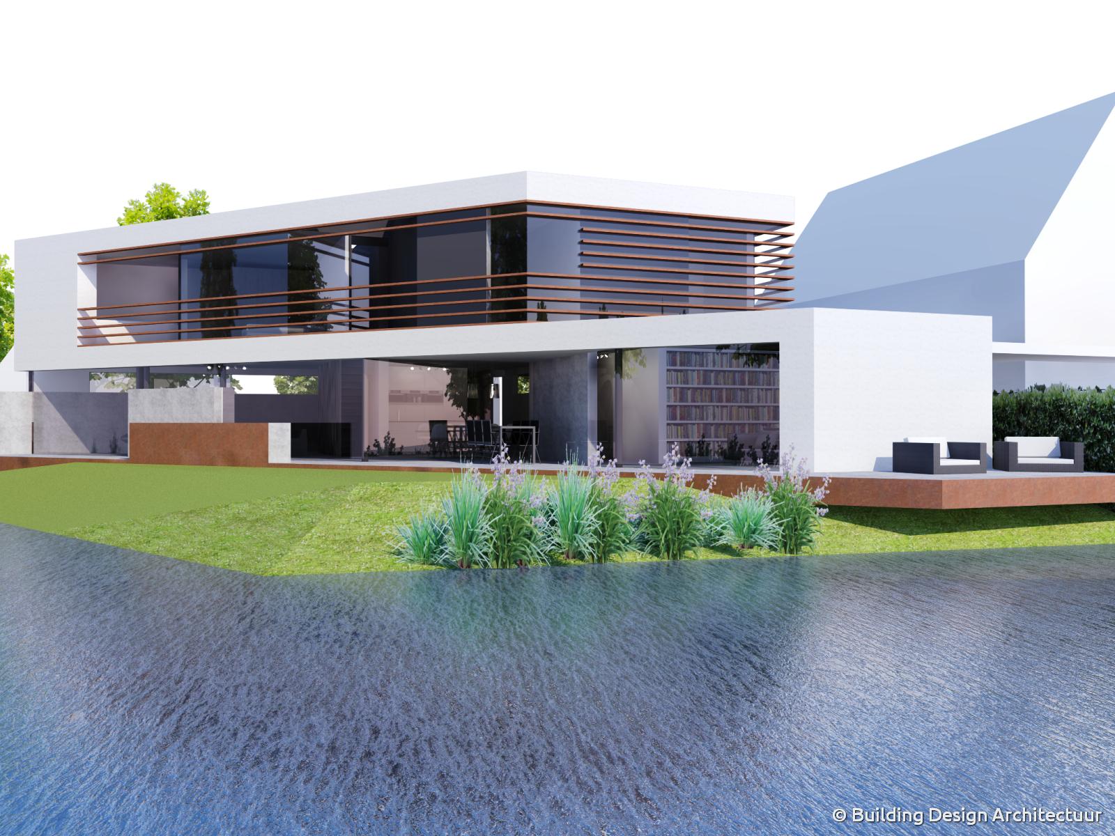 Building design architectuur - Moderne huis op een helling ...