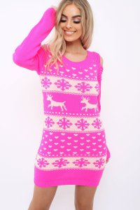 ... £19.99Pink Christmas Print Jumper Dress   Kleo