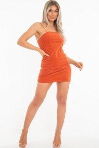 fea78d4a5b2 £23.39 (40% OFF)Orange Corduroy Spaghetti Strap Mini Dress - Holli