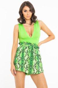 2dfa807e £11.49 (50% OFF)Neon Green Plunge Ruched Bodysuit - Sookie
