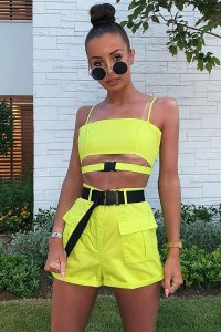 81c3a9aed086 £30.49 (50% OFF)Lime Buckle Utility Crop Top and Shorts Co-ord - Juri
