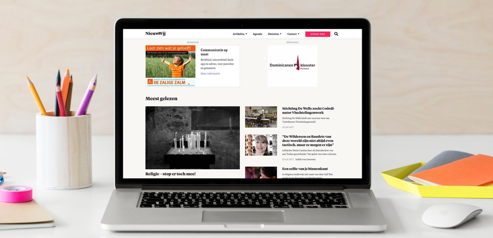 Advertenties op het door ons ontwikkelde NieuwWij.nl