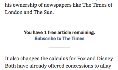 Metered paywall-melding van The New York Times