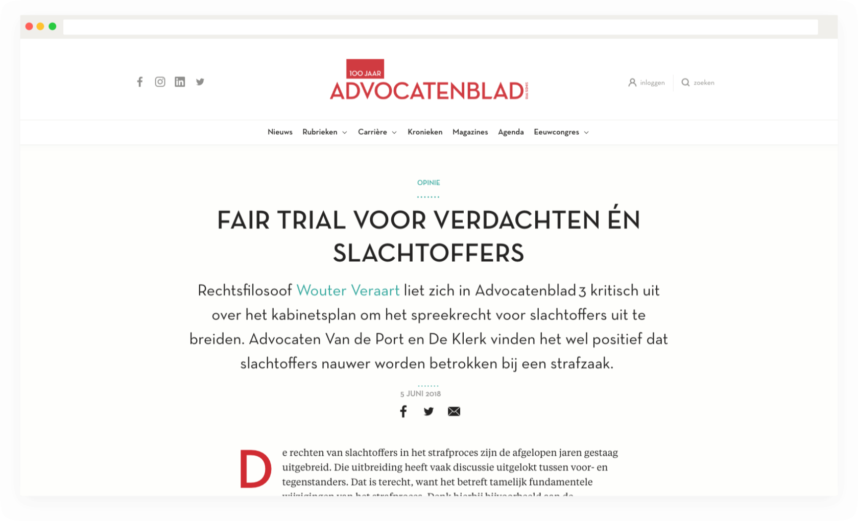 Artikelpagina Advocatenblad