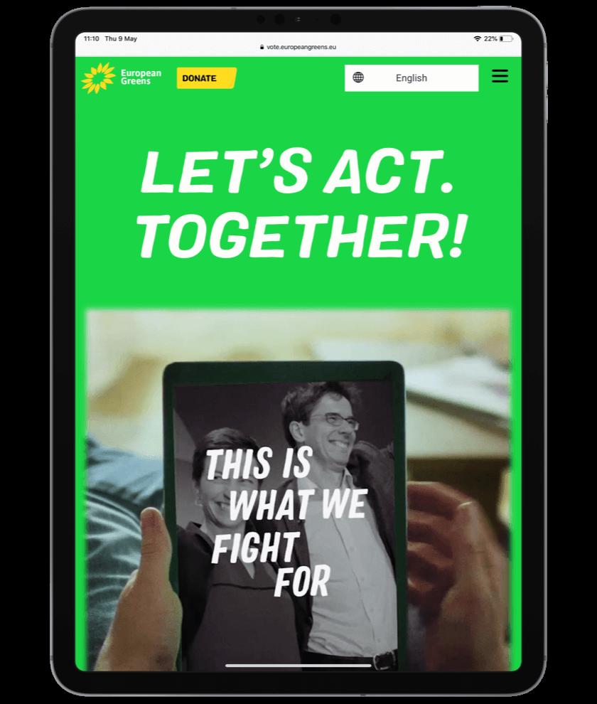 EU greens website op een ipad bekeken
