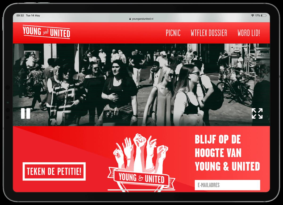 Die website von Young & United auf einem Tablet-PC
