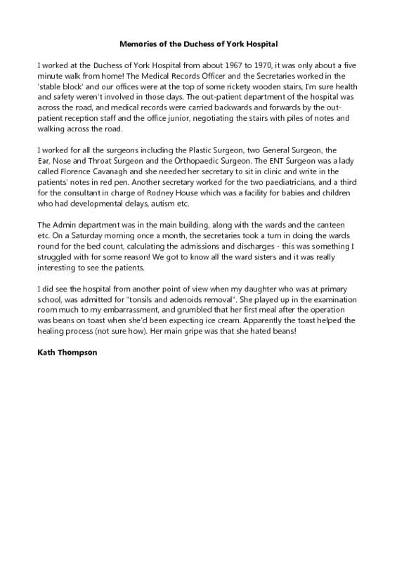 memories of the Duchess of York Hospital - Kath Thompson.pdf