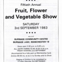 Burnage Garden Society - 50th Annual Show Programme