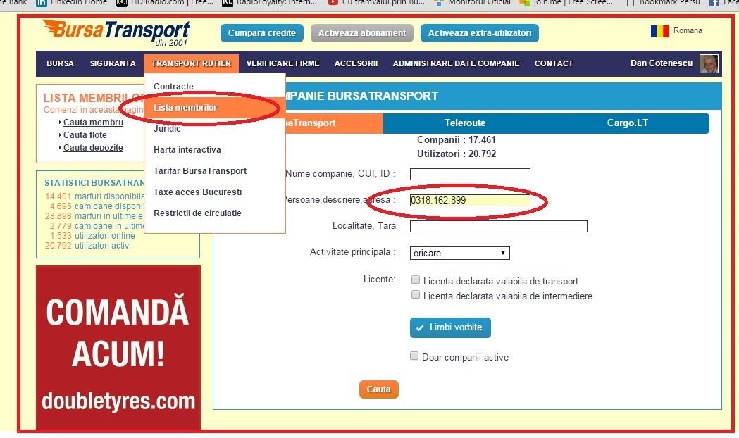 Cautare Membri Bursatransport Dupa Numarul De Telefon