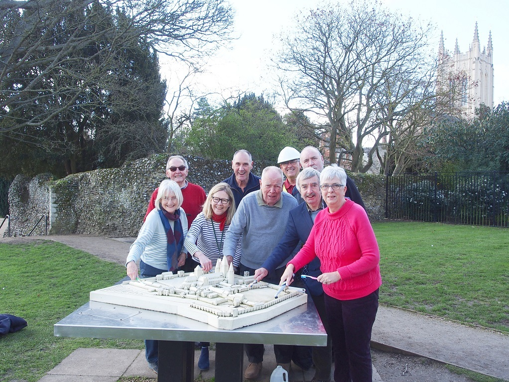 Abbey of St Edmund model gets a spring clean from Tour Guides