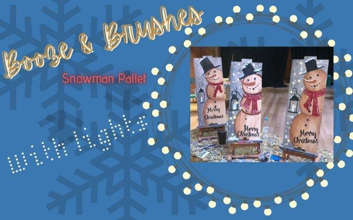 Booze & Brushes - Christmas Snowman Wood Pallet