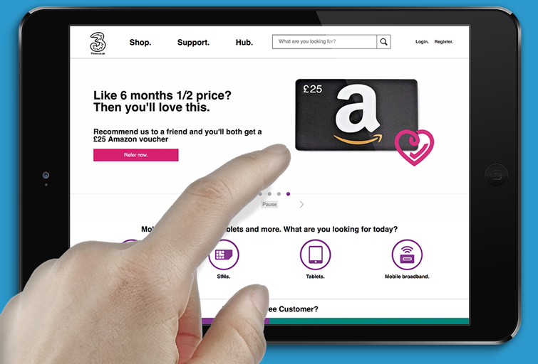 Three offer Amazon vouchers to referrers