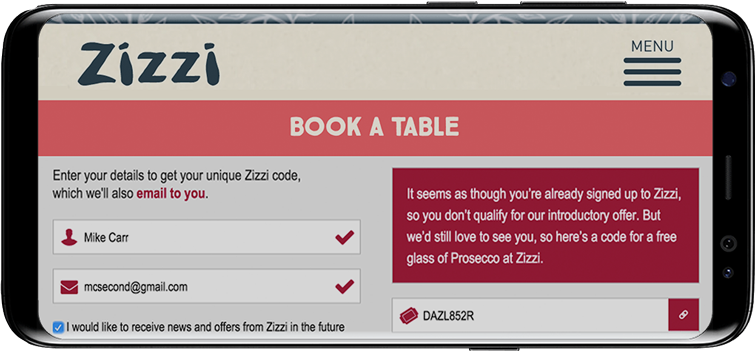 Zizzi's referral programme