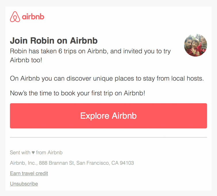 airbnb invite email