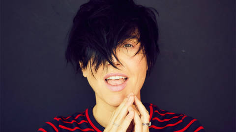 Sharleen Spiteri with mouth open and hands together