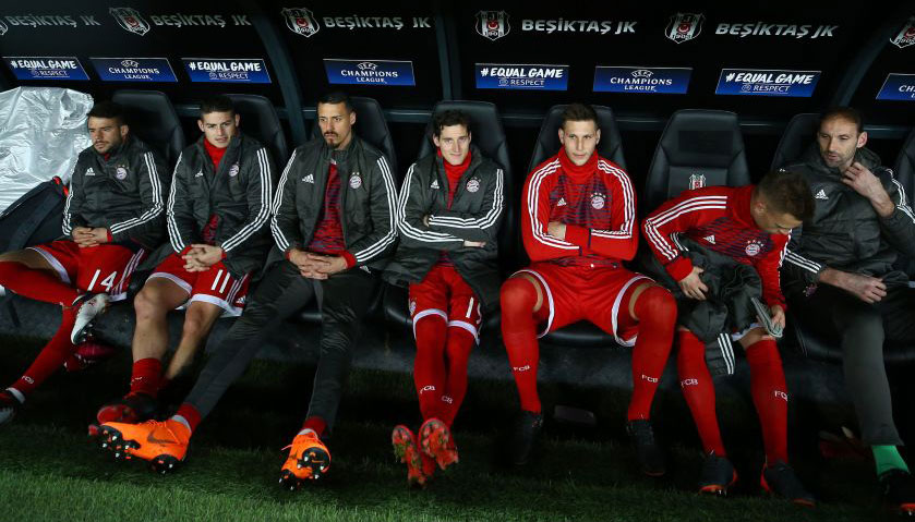 Which players have spent the most time on the bench this season?