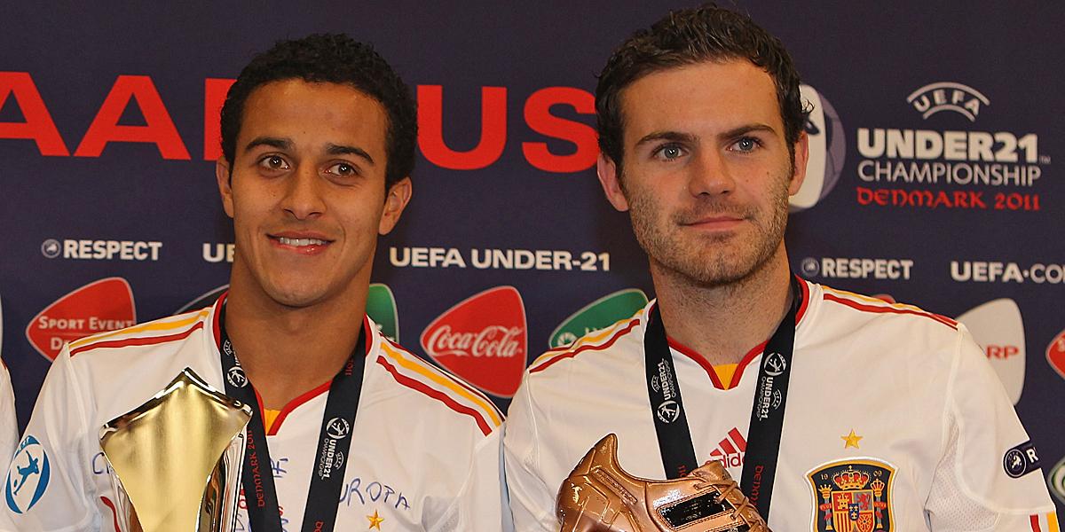 Bei der U21-EM 2011 traten Thiago und Mata gemeinsam an.