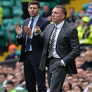 Steven Gerrard und Brendan Rodgers im Old Firm.