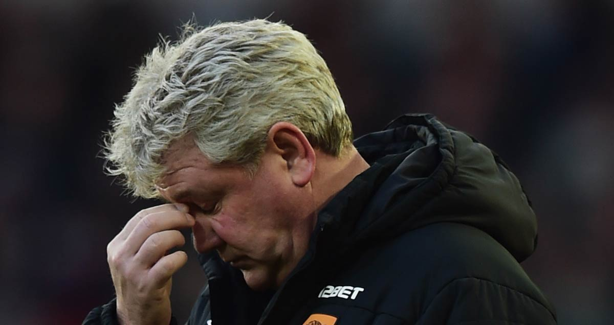 An exasperated Steve Bruce in charge of Hull