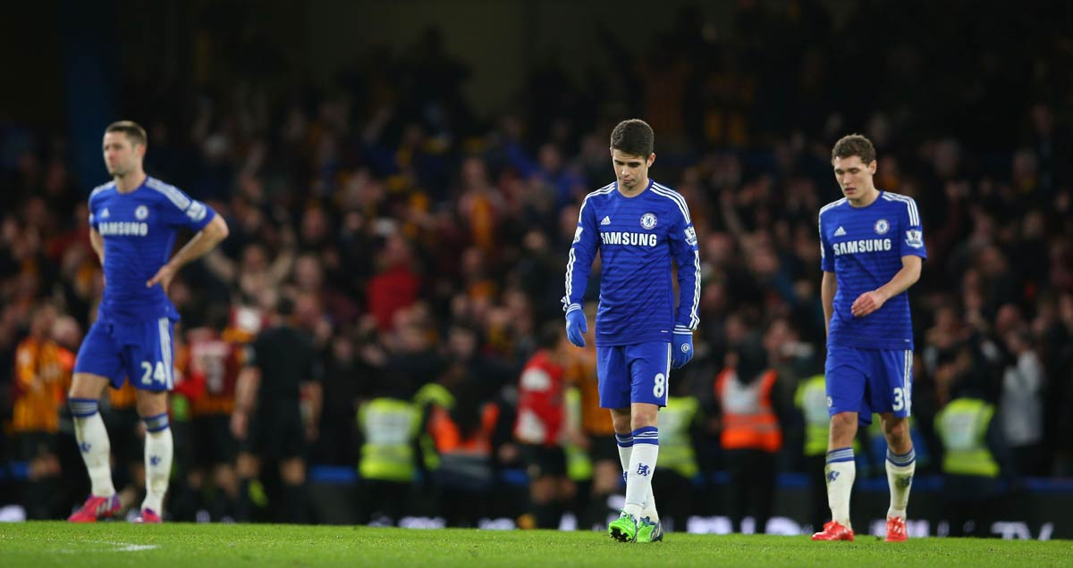 Chelsea trudge off after being defeated by Bradford